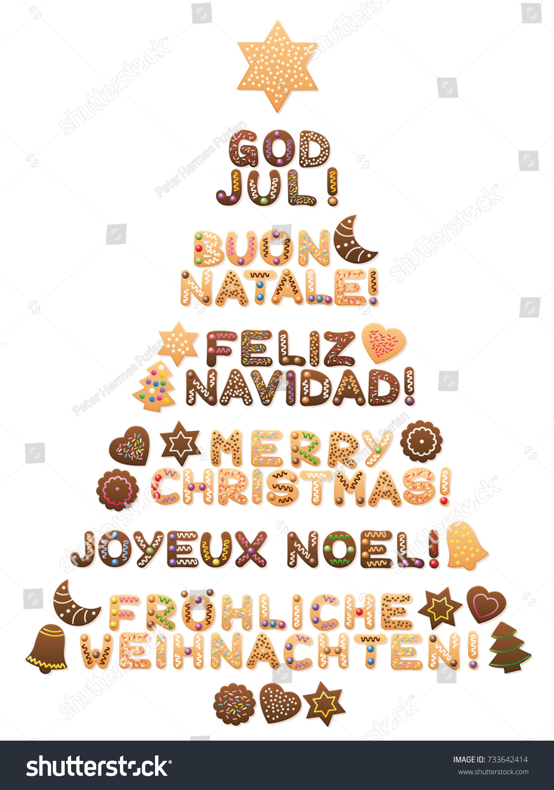 Merry Christmas German.Merry Christmas Written Swedish Italian Spanish Stock Vector