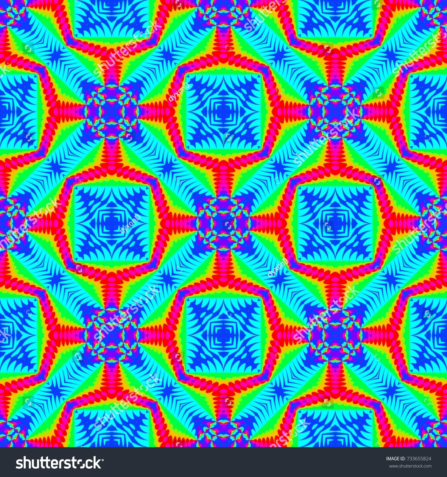 Abstract Colorful Tile Pattern Multicolor Tiled Stock Illustration ...