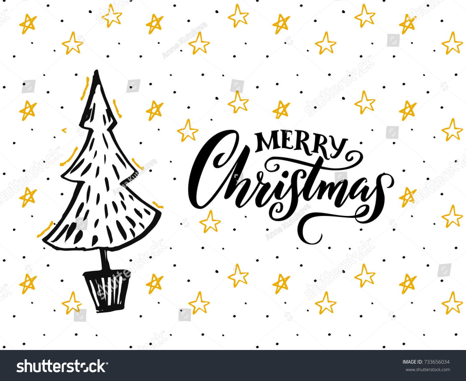 Merry Christmas Card Design Hand Drawn Stock Vector (Royalty Free ...