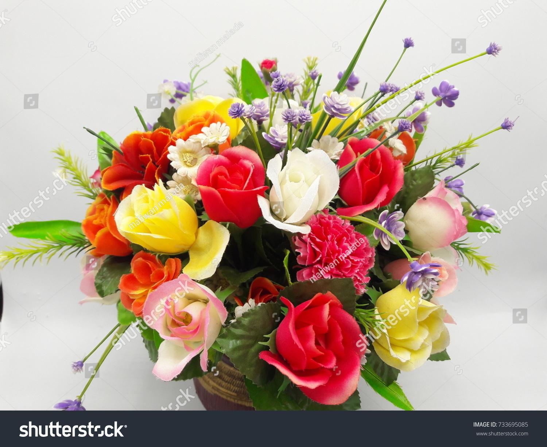 Plastic Flowers White Plastic Vase On Stock Photo Edit Now