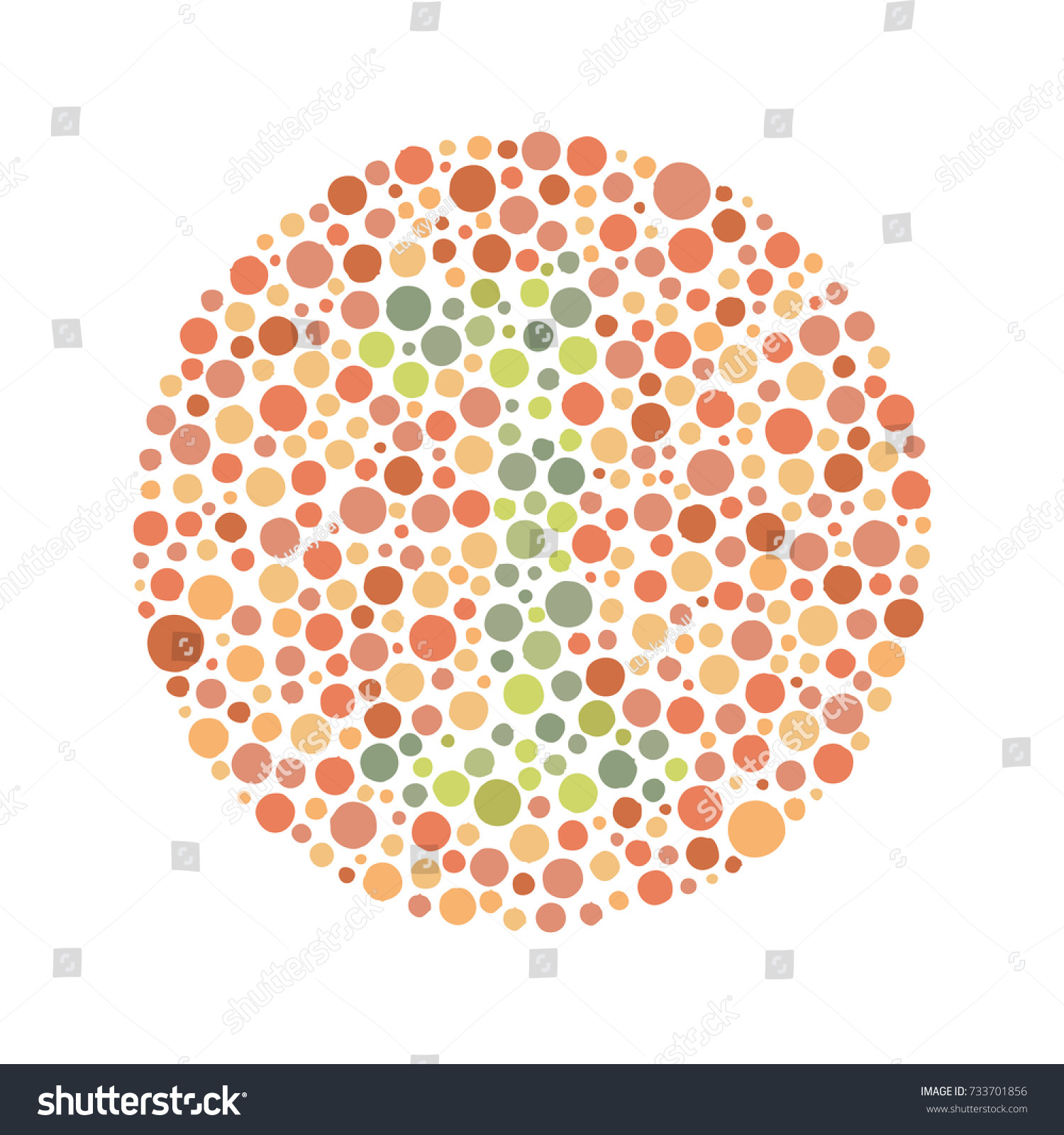 Red Green Color Blind Test Number Stock Vector