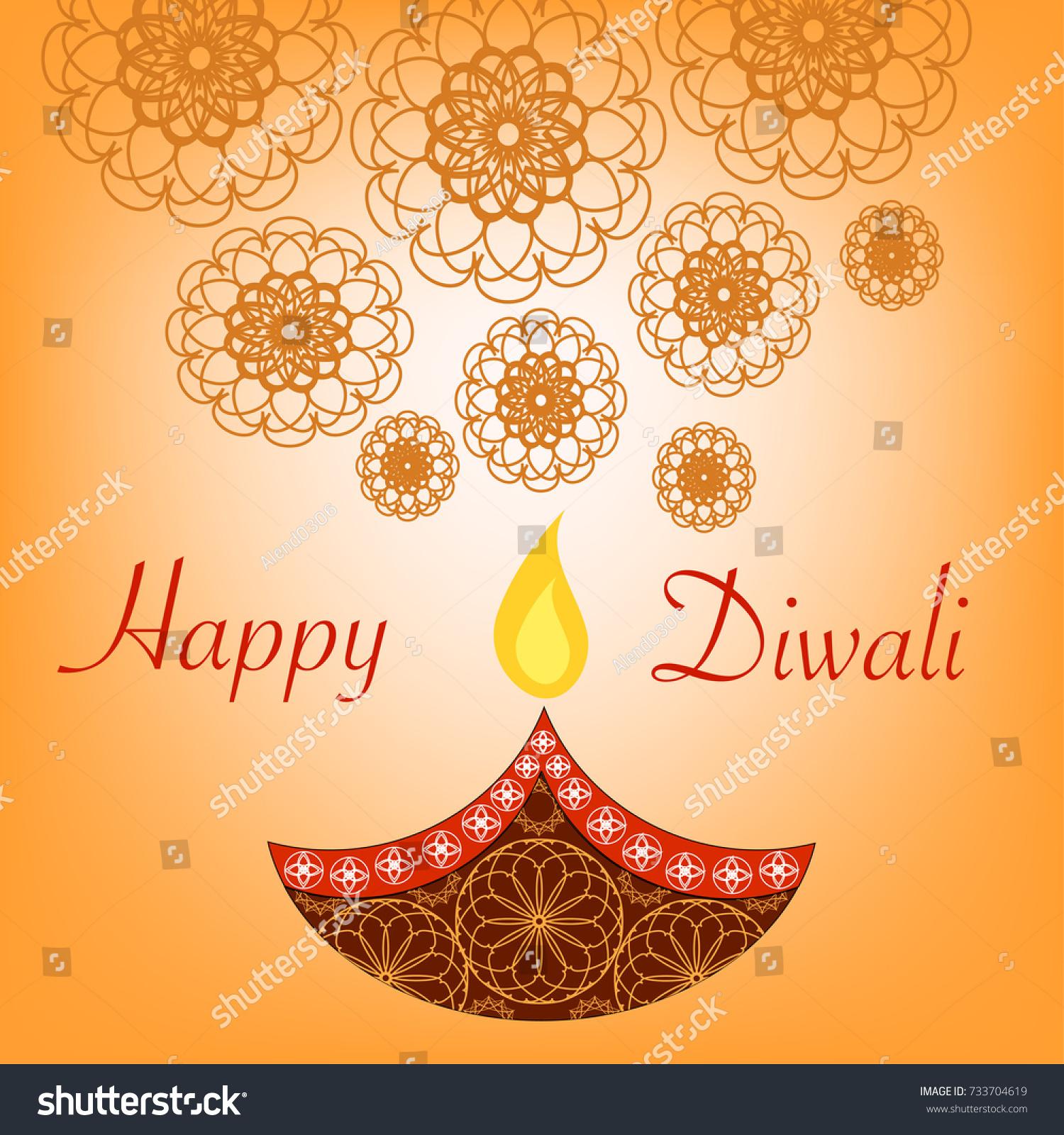 Beautiful Diwali Vector Card Greetings Diwali Stock Vector Royalty