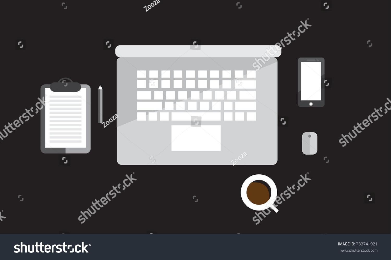computer table top design computer accessories stock illustration