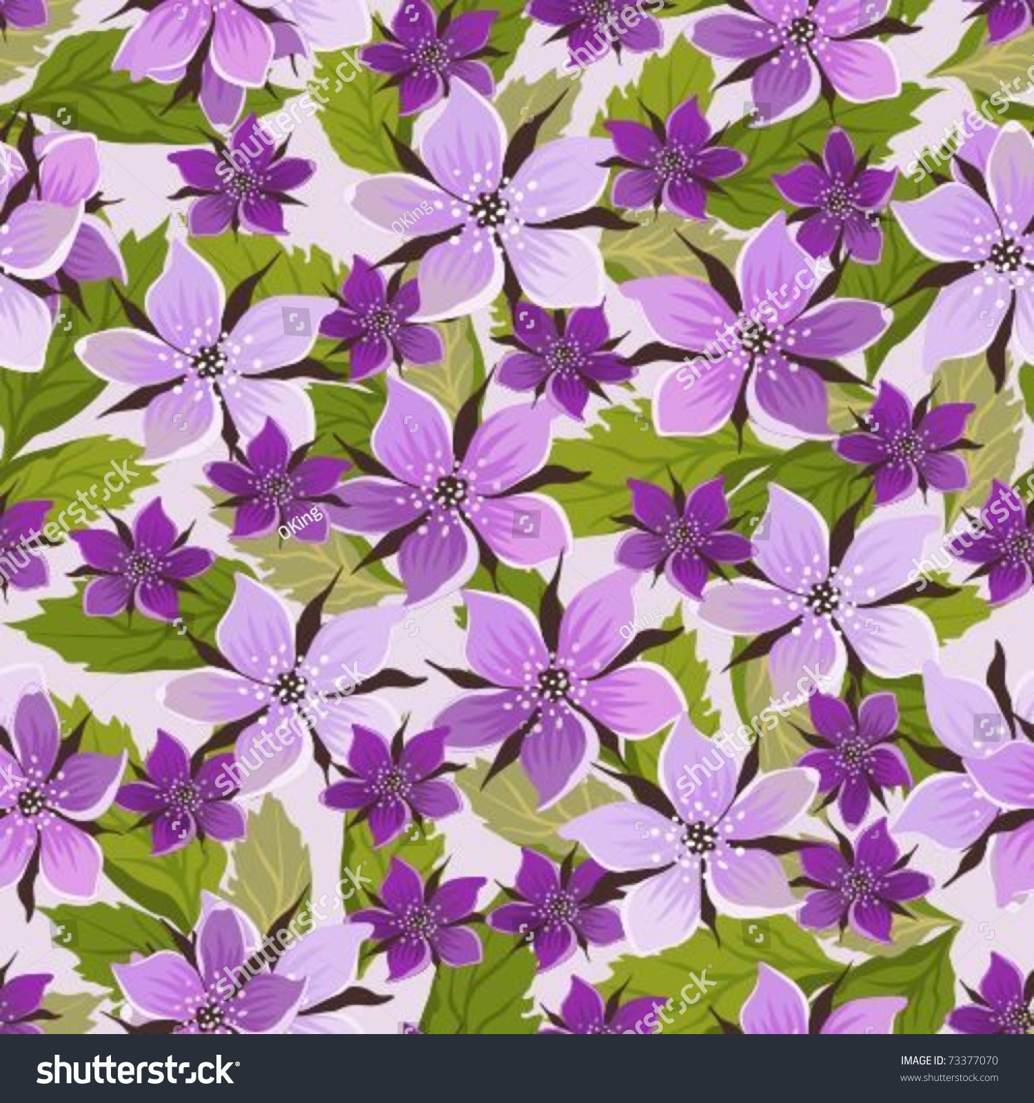 Seamless Background With Lilac Flowers And Leaflets Stock