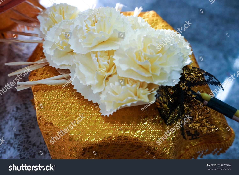 Beautifuk Thai Artificial Funeral Flower On Stock Photo Royalty
