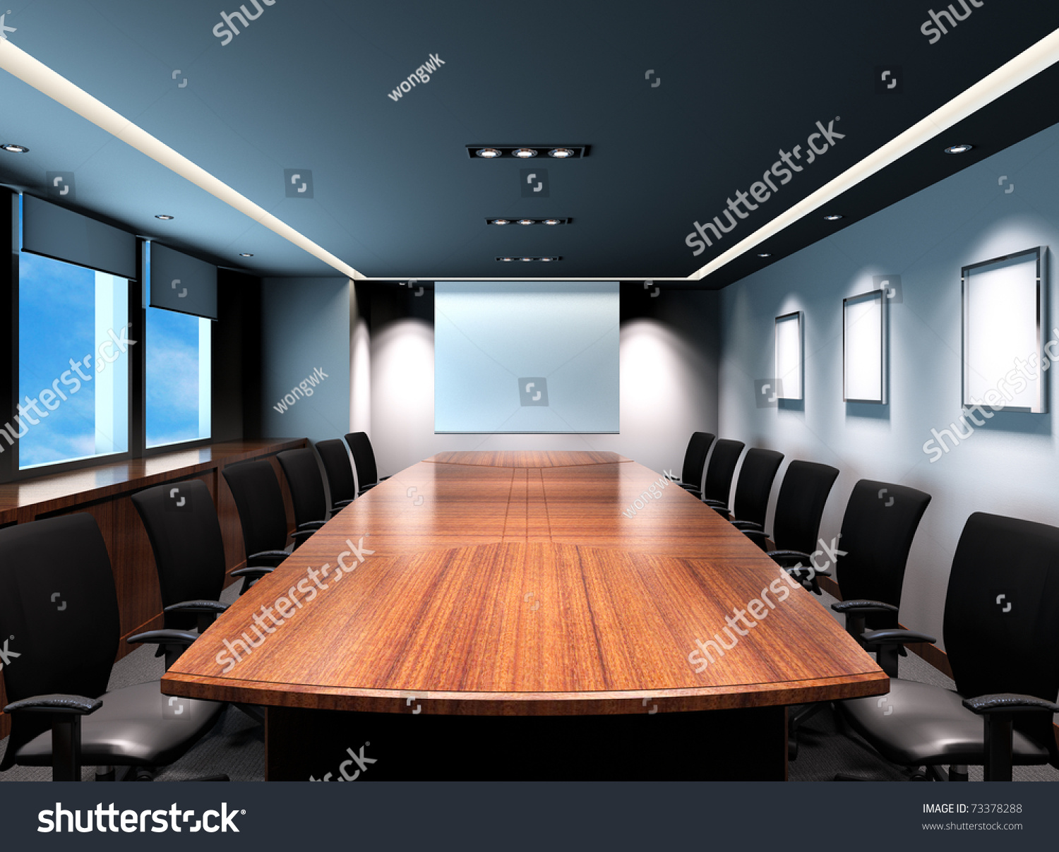 Business meeting room office modern decoration stock for Office design video conferencing