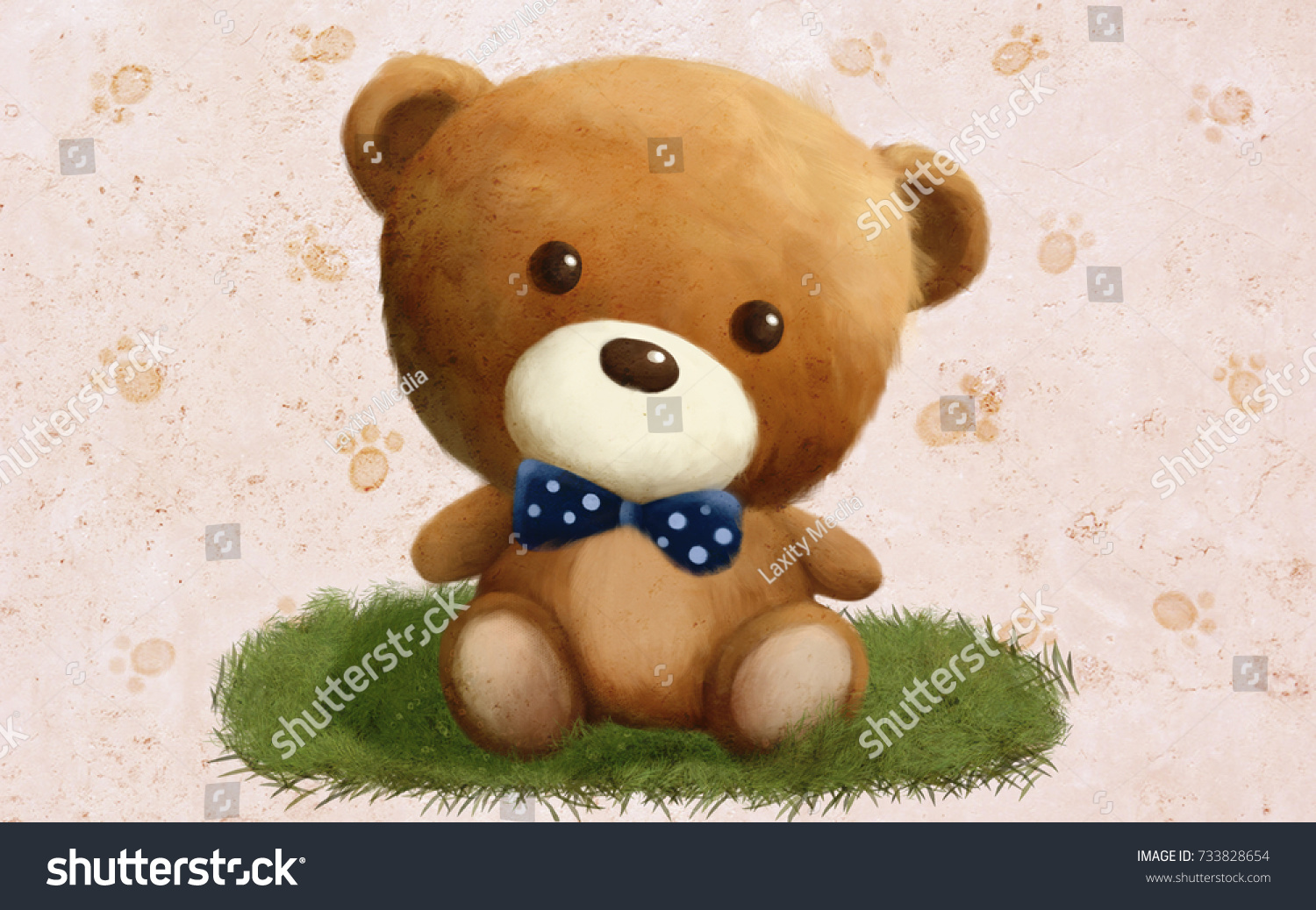 Drawn fluffy teddy bear on green stock illustration 733828654 drawn fluffy teddy bear on green circle grass perfect for greeting cards m4hsunfo