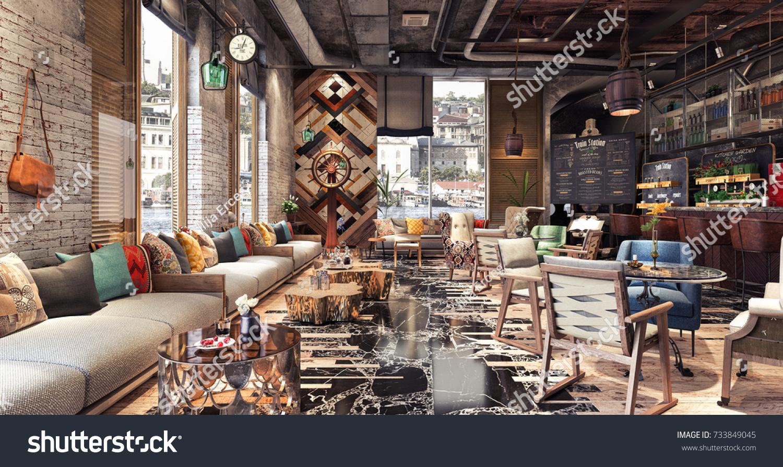 Concept Design Modern Restaurant Lounge Bar Stockillustration ...