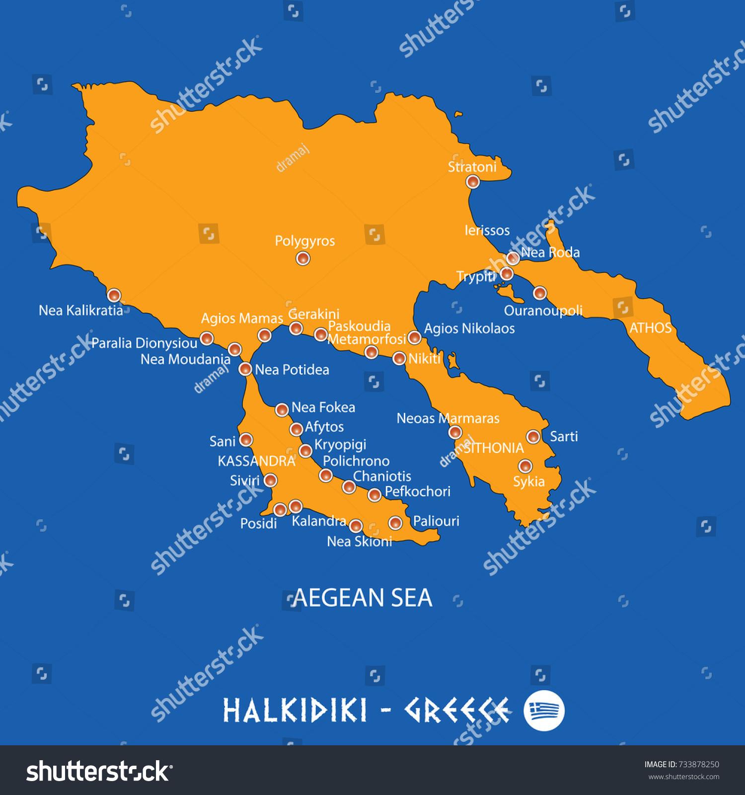 Peninsula Halkidiki Greece Orange Map Art Stock Vector Royalty