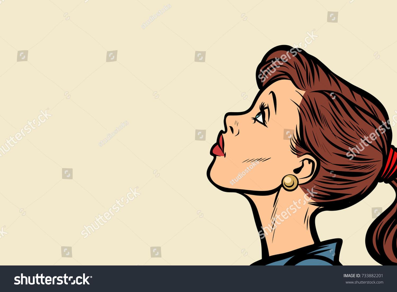 Close up woman face profile pop art retro vector illustration