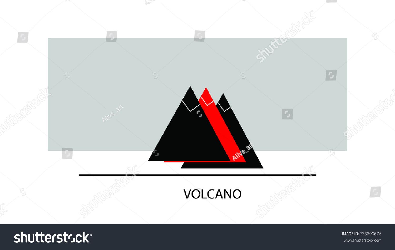 Volcano Vector Logotype Triangle Abstract Sign Stock Vector