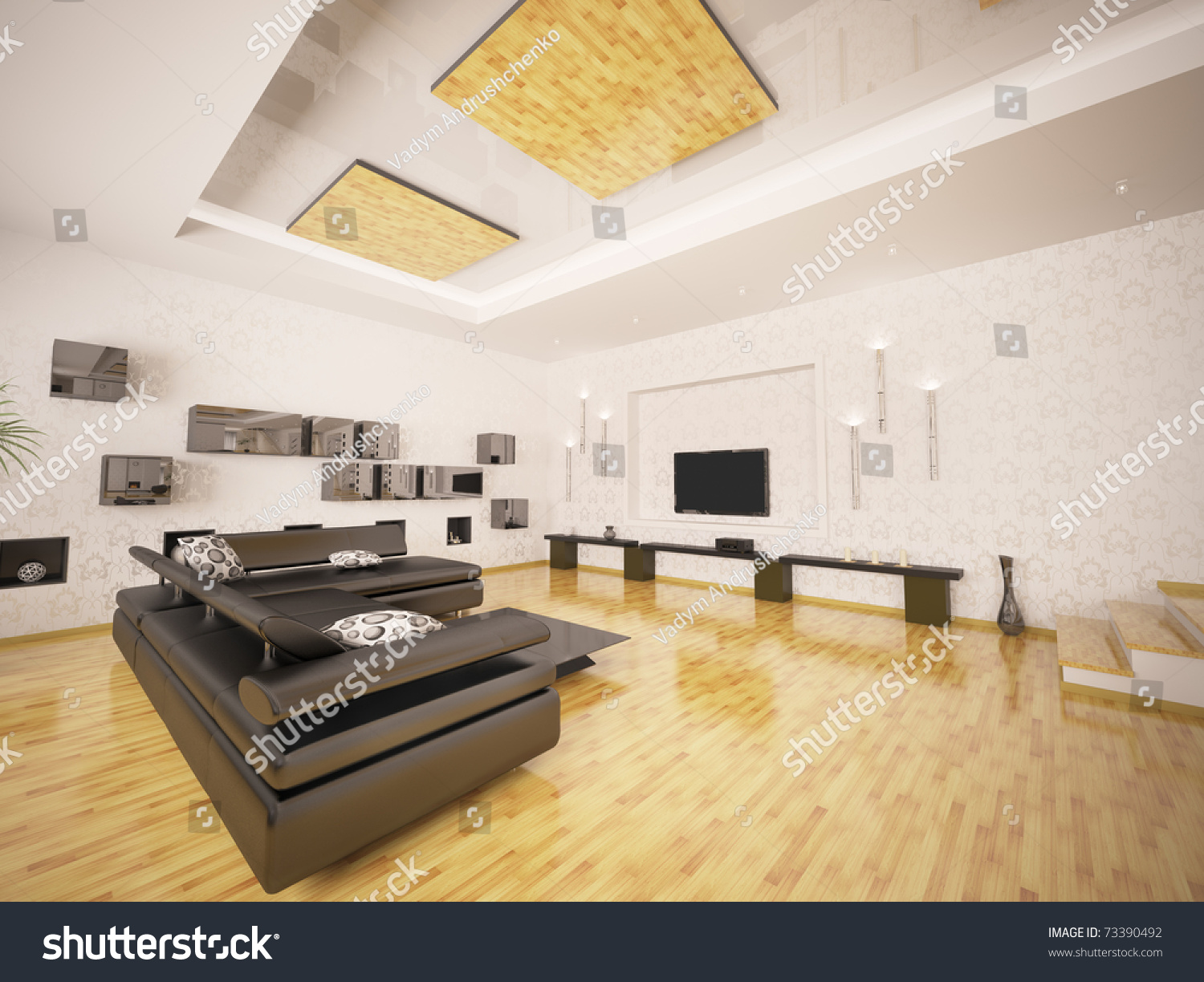 Home Interior Of Modern Living Room 3d Render Ez Canvas