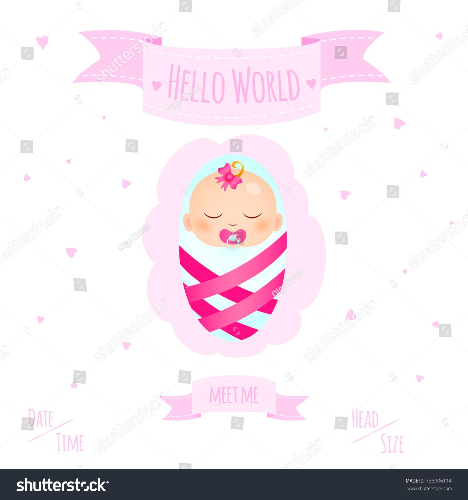 New Child Born Baby Newborn Greeting Stock Vector Royalty Free