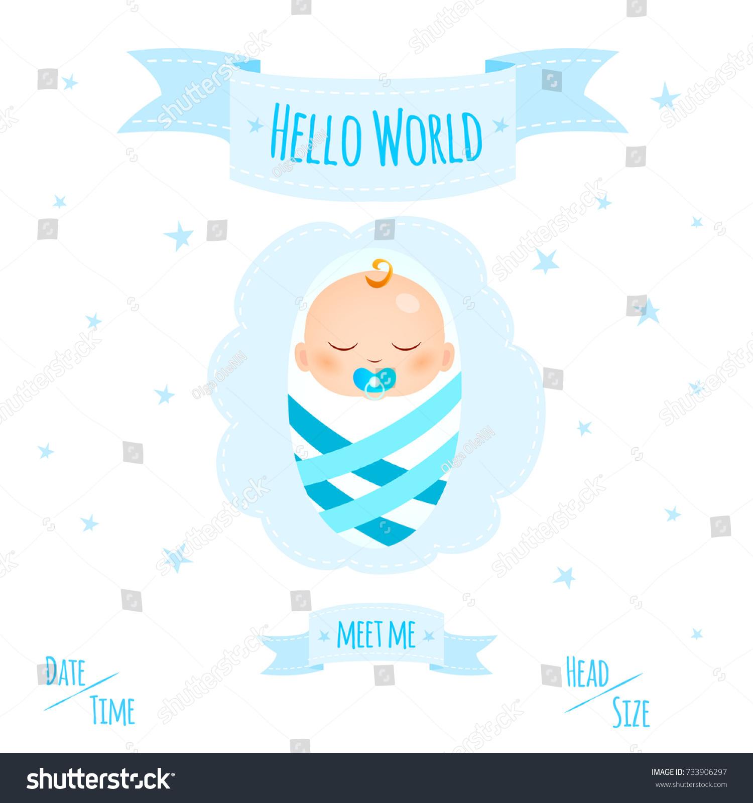 New child born baby newborn greeting stock vector 733906297 new child born baby newborn greeting card with girl kid in diapers words hello world kristyandbryce Gallery