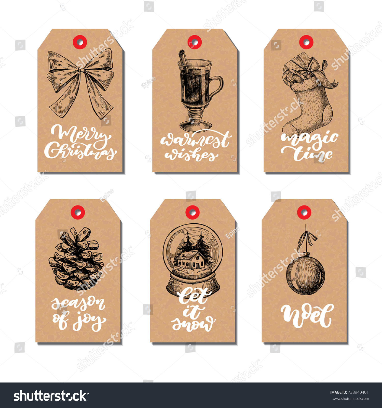 Christmas Vintage Gift Tags Set Lettering Stock Vector (Royalty Free ...