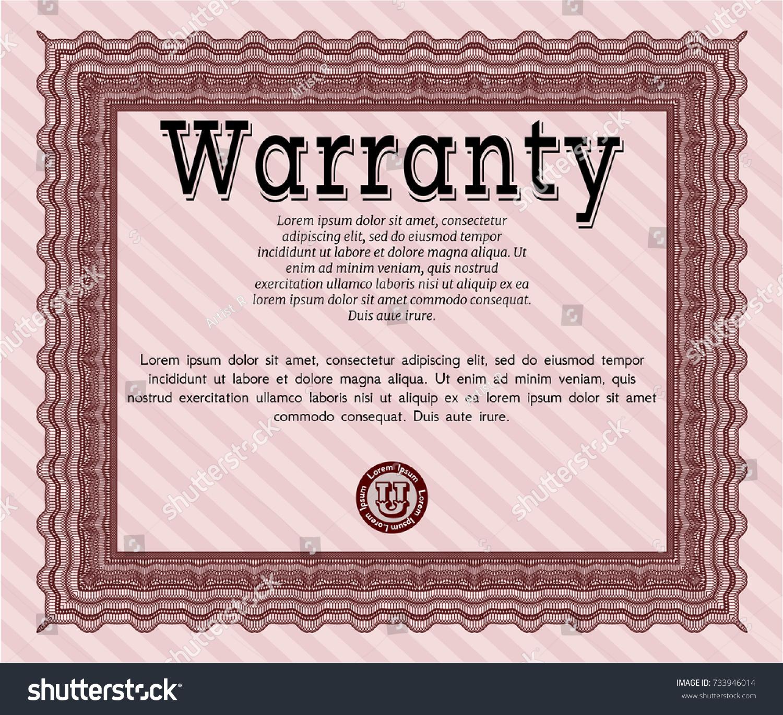Red Warranty Certificate Template Money Design Stock Vector