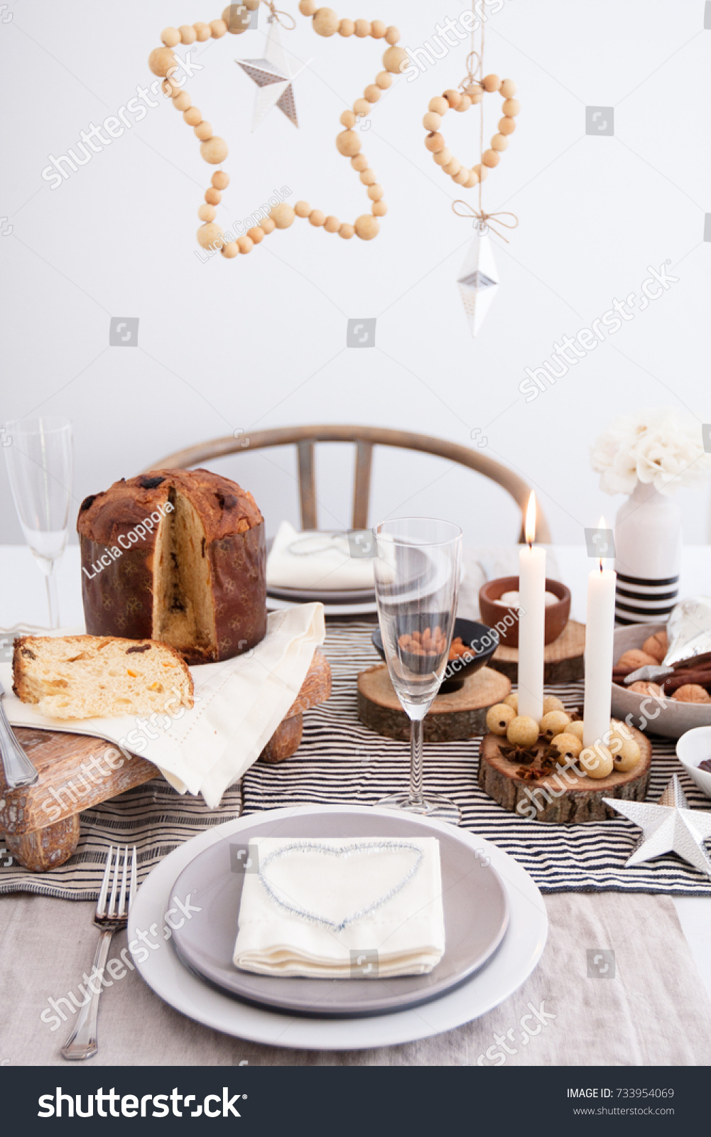 Christmas Dinner Table DIY Scandinavian Rustic Stock Photo (Edit Now ...