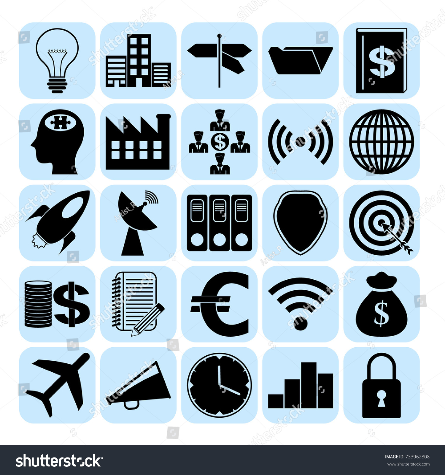 Set 25 Business Symbols Icons Collection Stock Vector 733962808