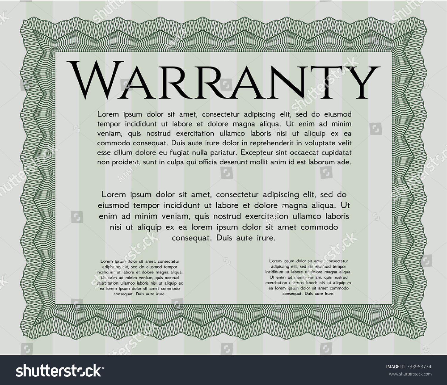 Green Formal Warranty Certificate Template Nice Design With