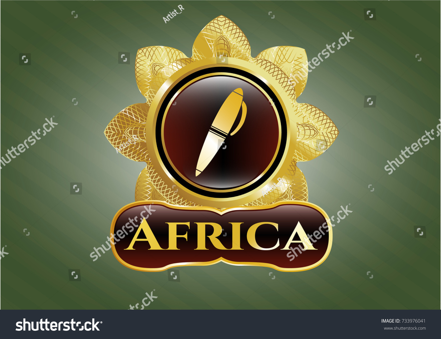 Gold emblem pen icon africa text stock vector 733976041 shutterstock gold emblem with pen icon and africa text inside biocorpaavc Choice Image
