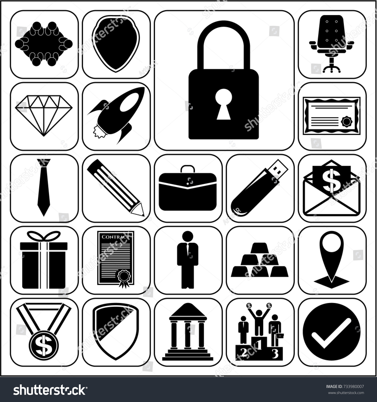 Set 22 Business Icons Pictograms Symbols Stock Vector 733980007