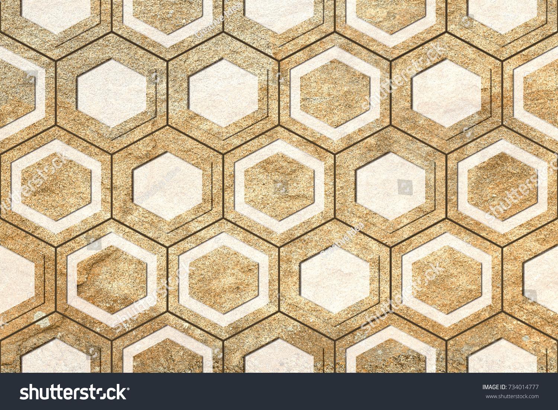 Abstract Home Decorative Hexagon Wall Tiles Stock Illustration ...