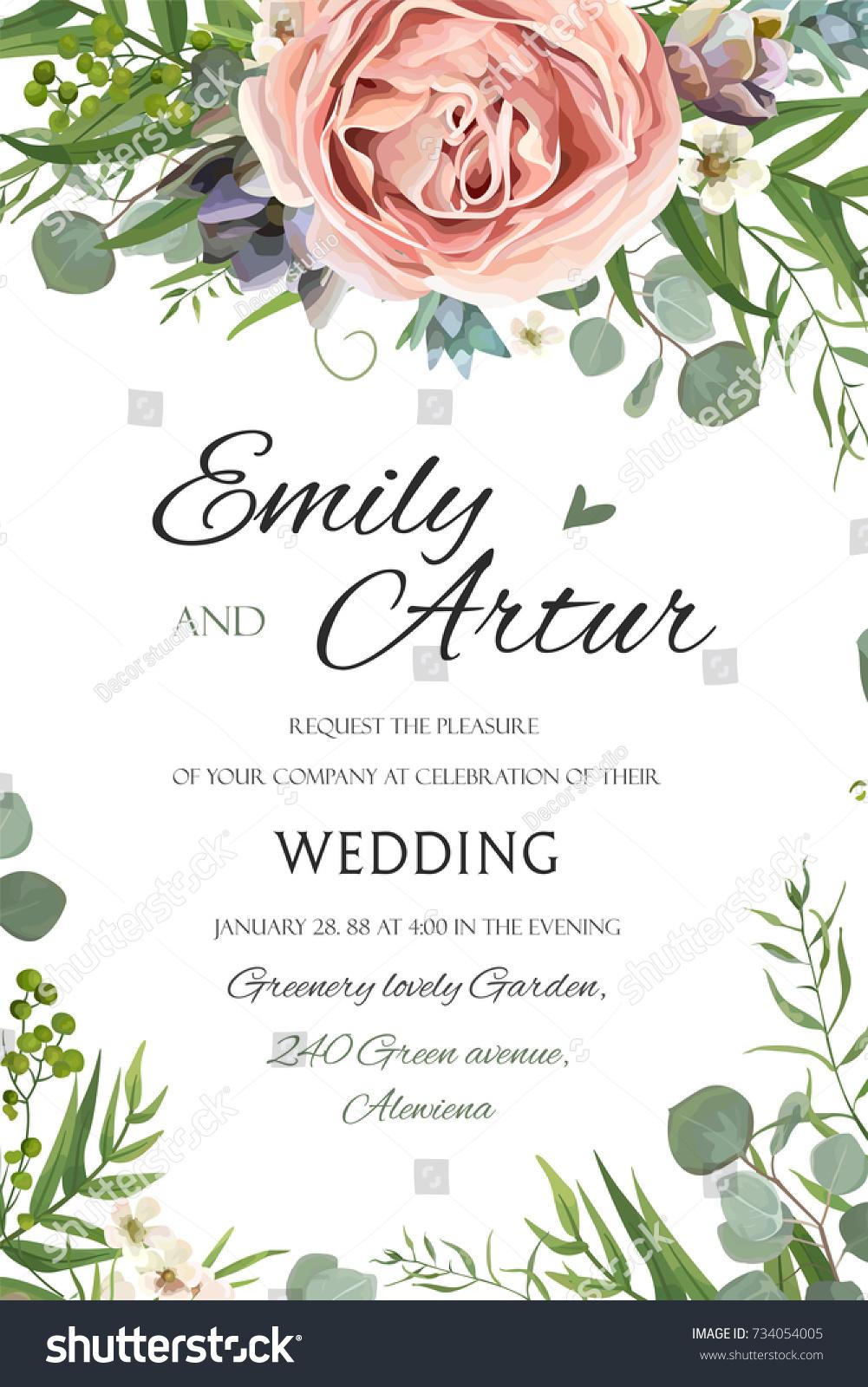 Wedding Invitation Invite Save Date Floral Image vectorielle de ...