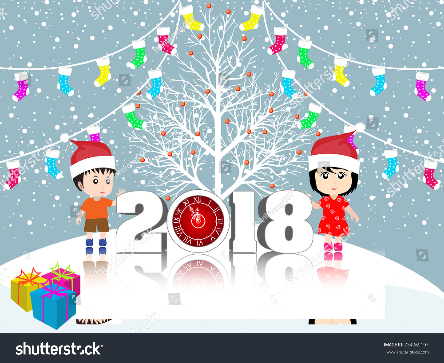 postcard happy new year 2018 and merry christmas with funny kids