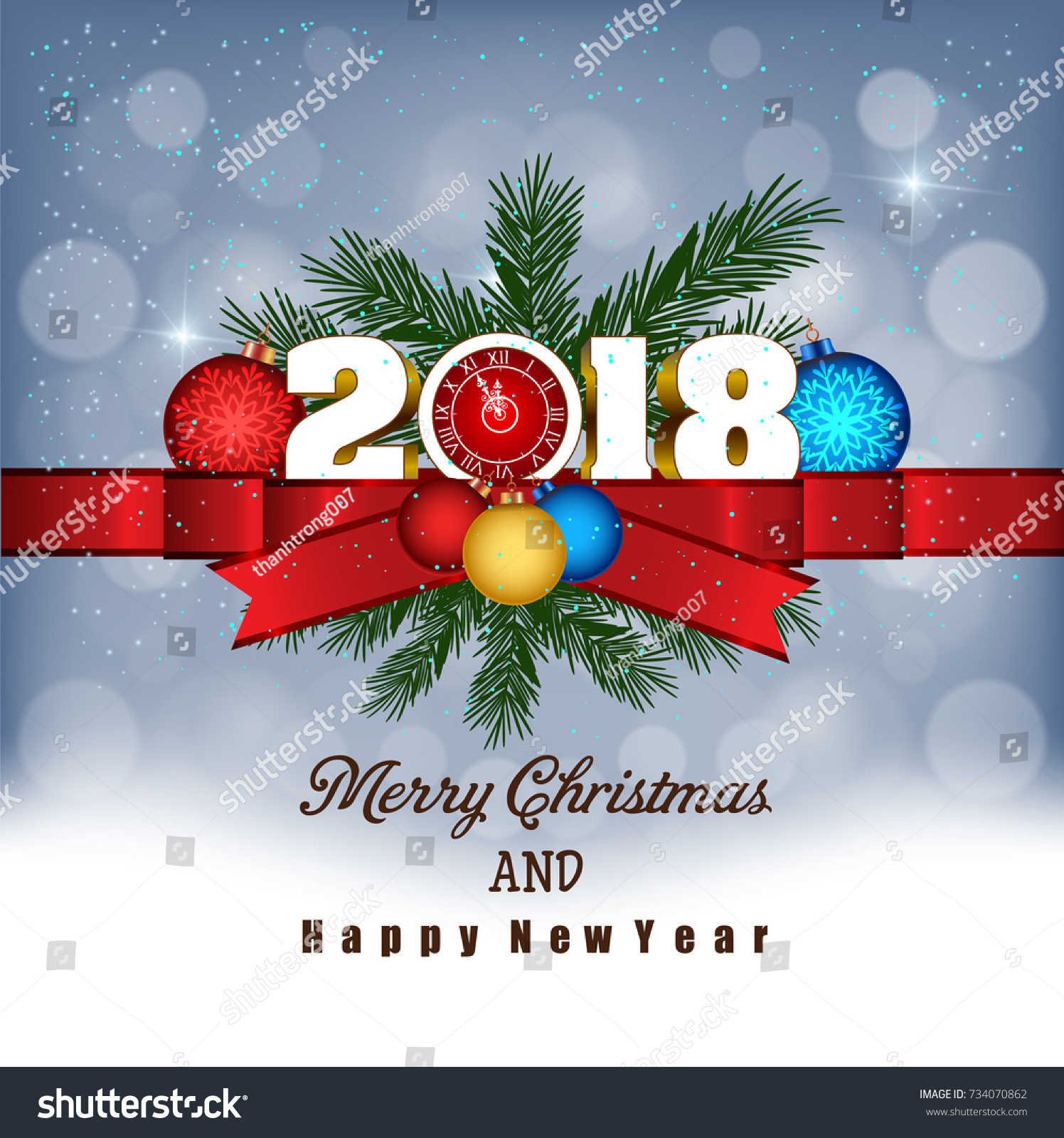 Postcard Happy New Year 2018 Merry Stock Vector (Royalty Free ...