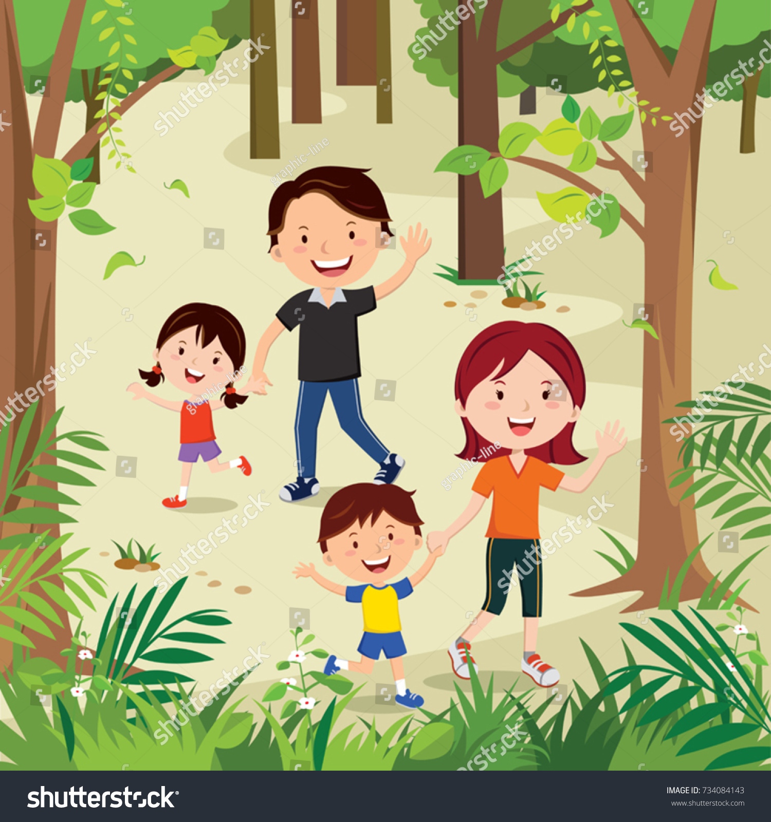 Happy Young Family Hiking In The Forest