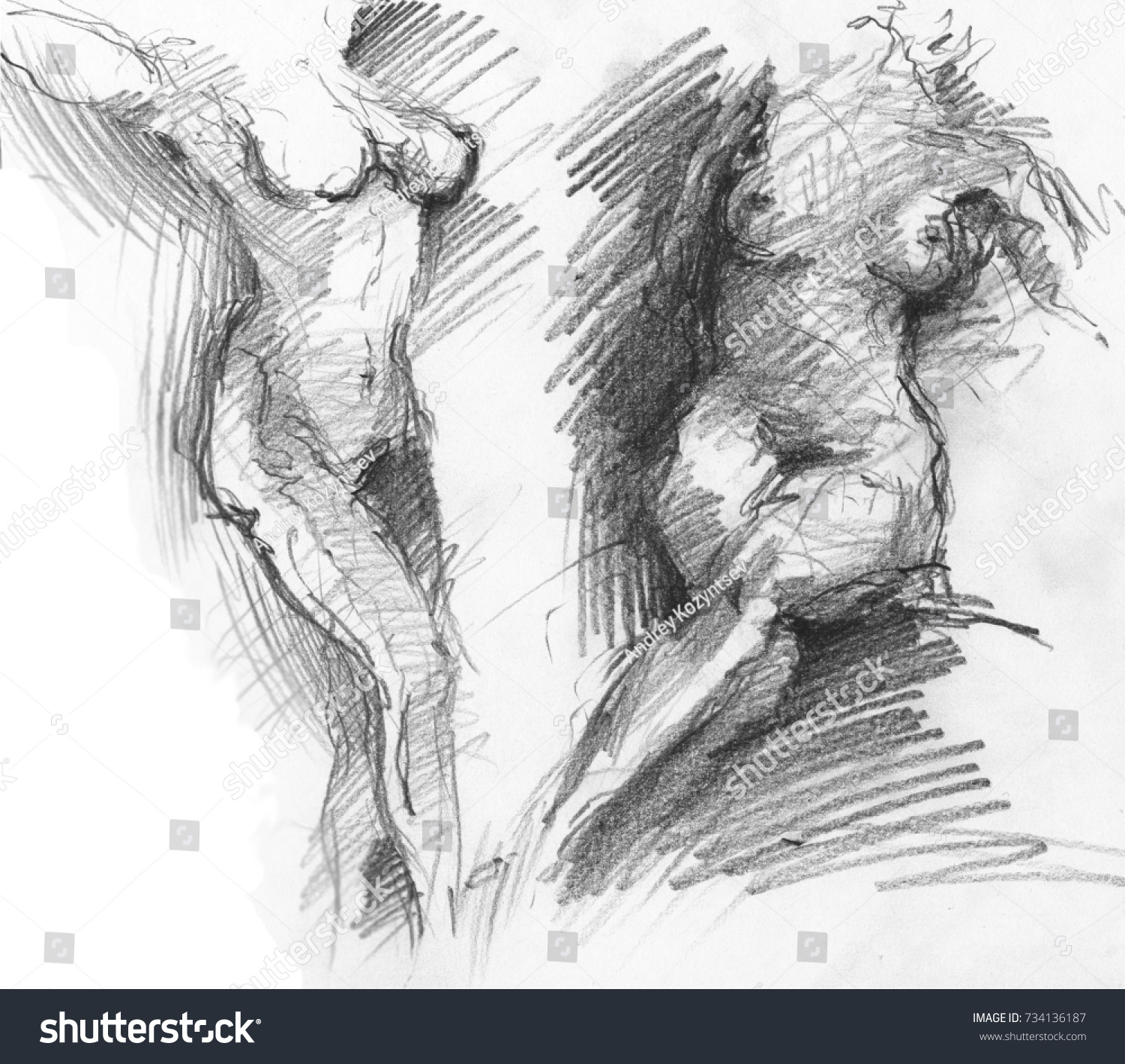 Naked women in various poses pencil sketch