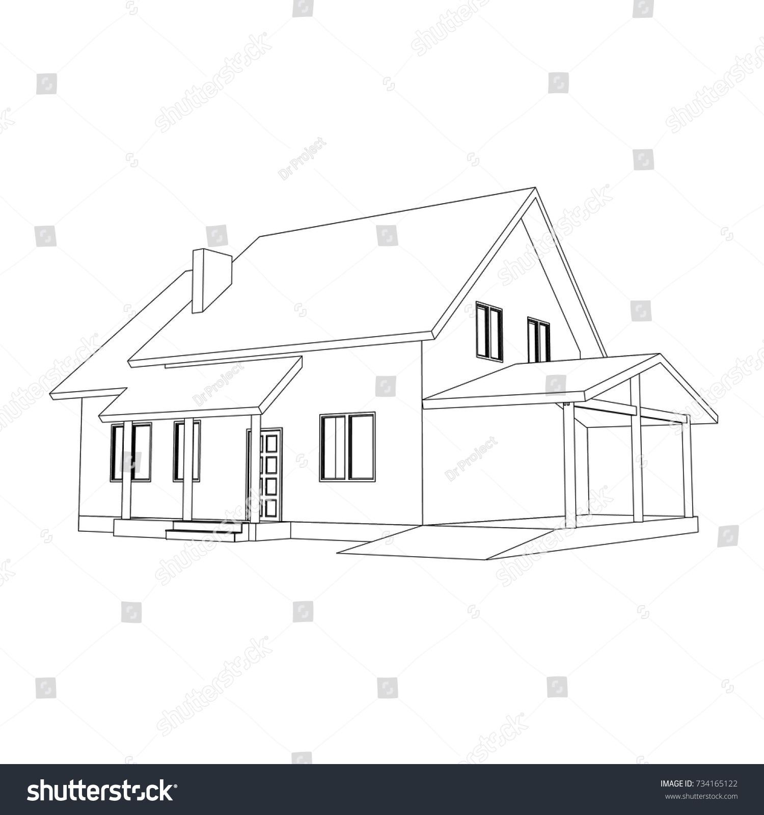 3d suburban house model drawing modern stock vector 734165122 3d suburban house model drawing of the modern building cottage project on white background malvernweather Images
