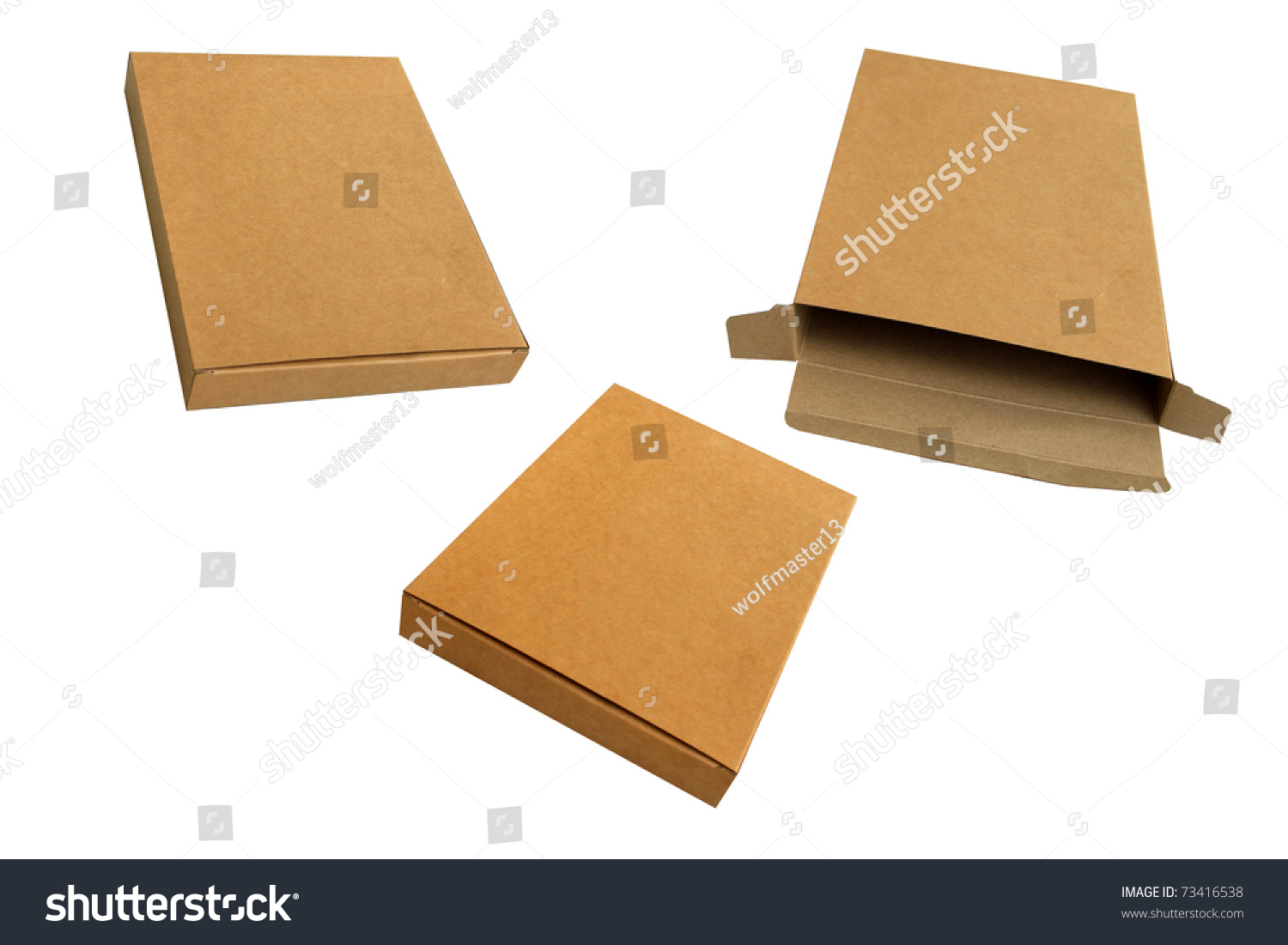Isolated Open And Close Corrugated Kraft Paper Box Stock ...