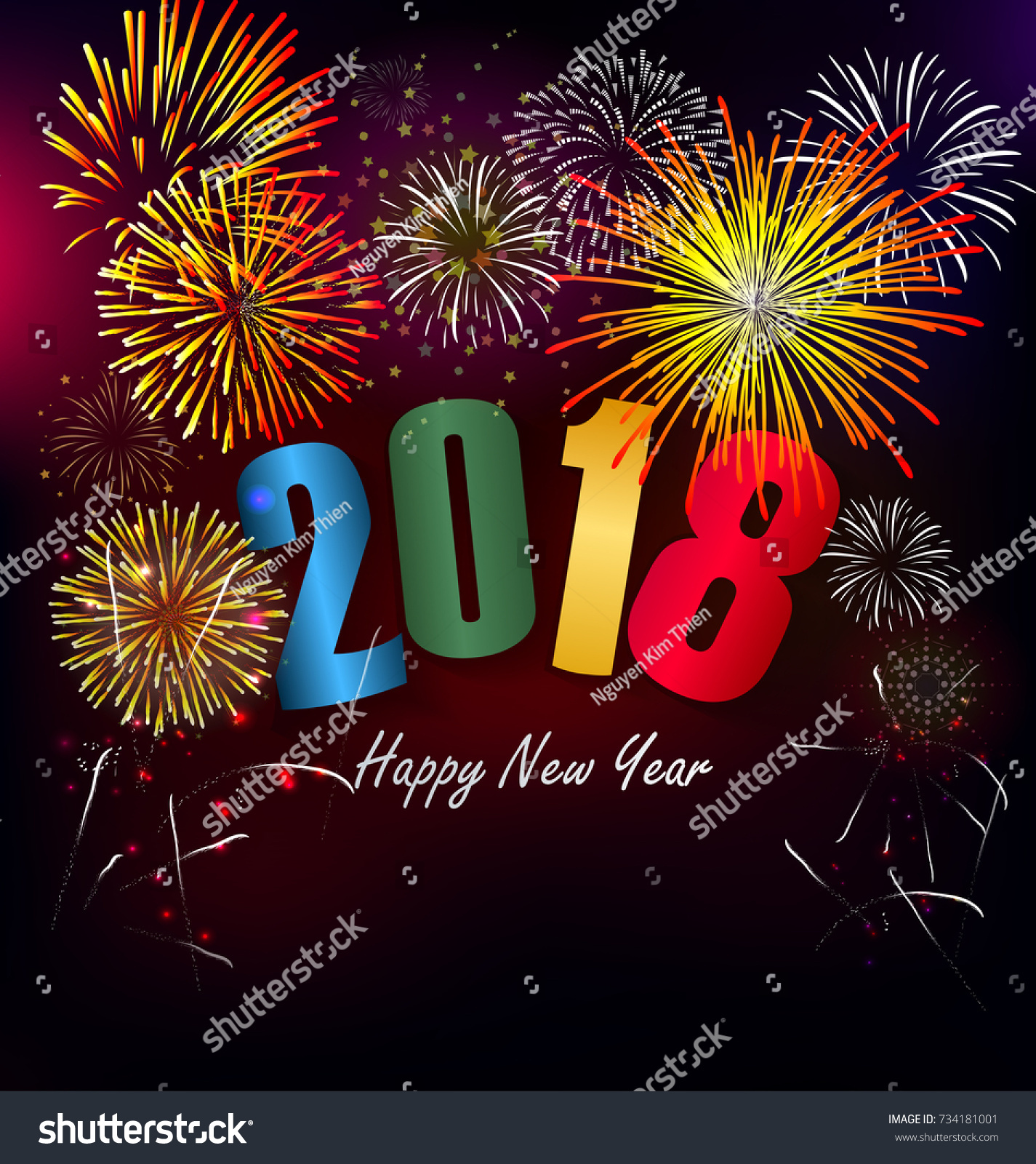 happy new year 2018 with realistic colorful fireworks background