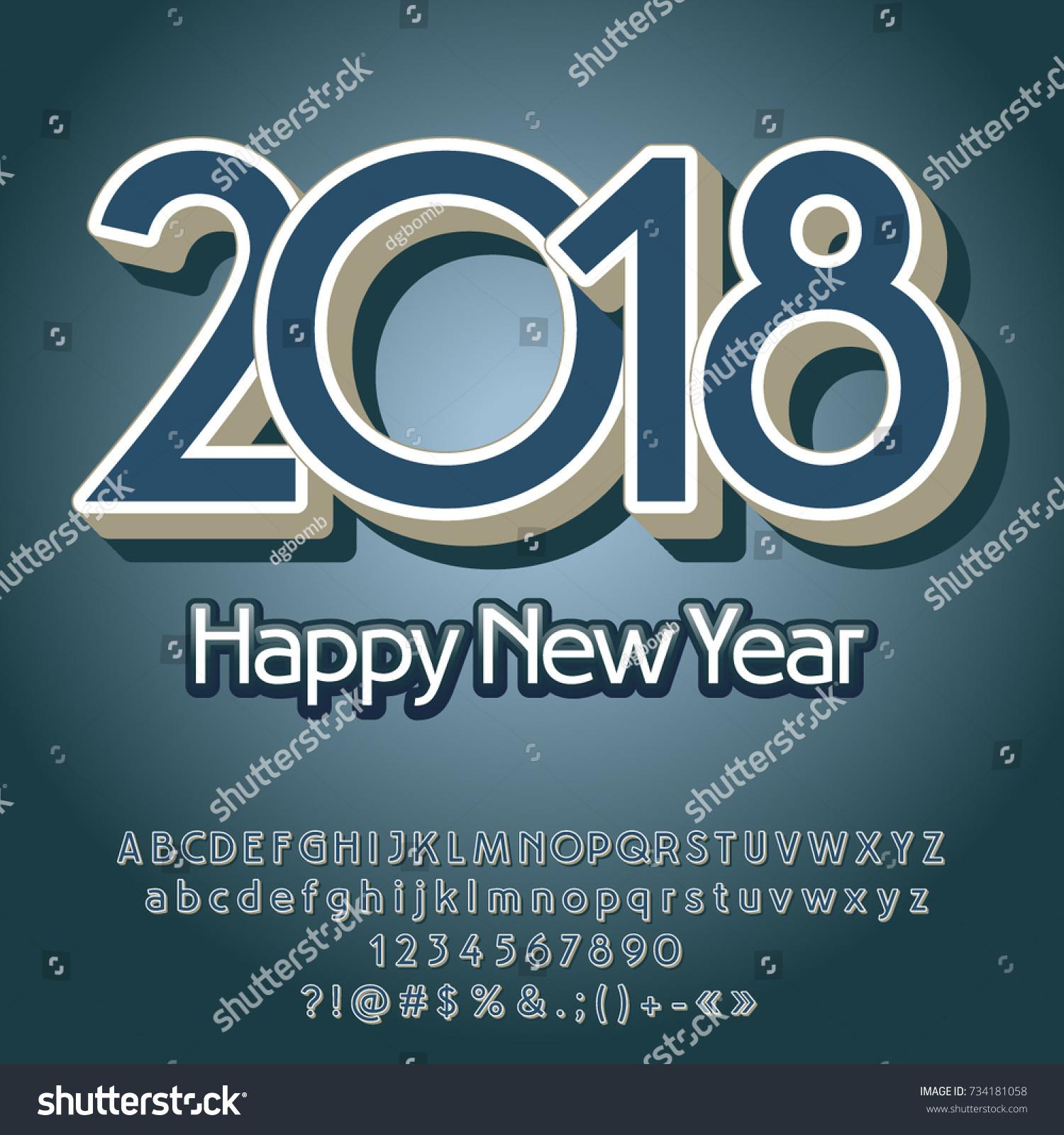 Vector Vintage Happy New Year 2018 Stock Vector 734181058 Shutterstock