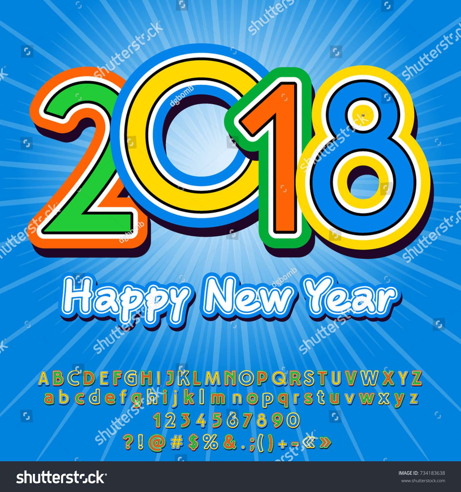 Vector Funny Happy New Year 2018 Greeting Card For Children Colorful Alphabet Letters Numbers