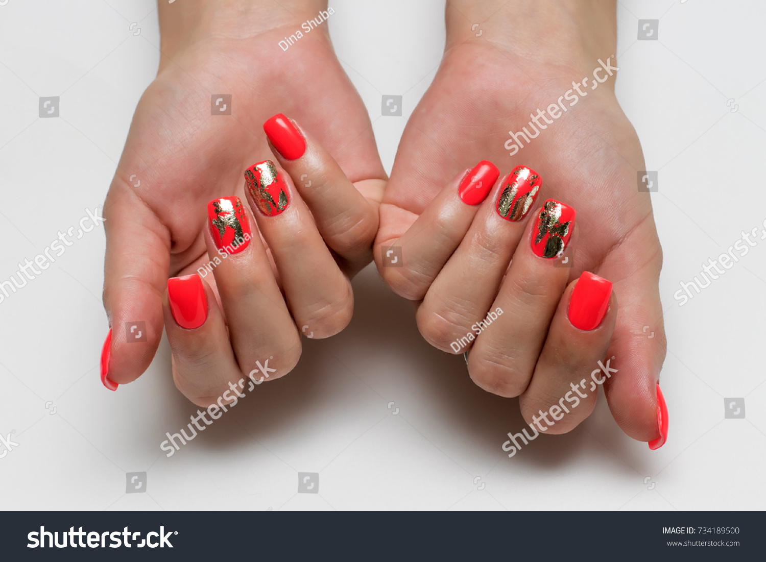 Coral Red Manicure On Long Square Stock Photo (Safe to Use ...