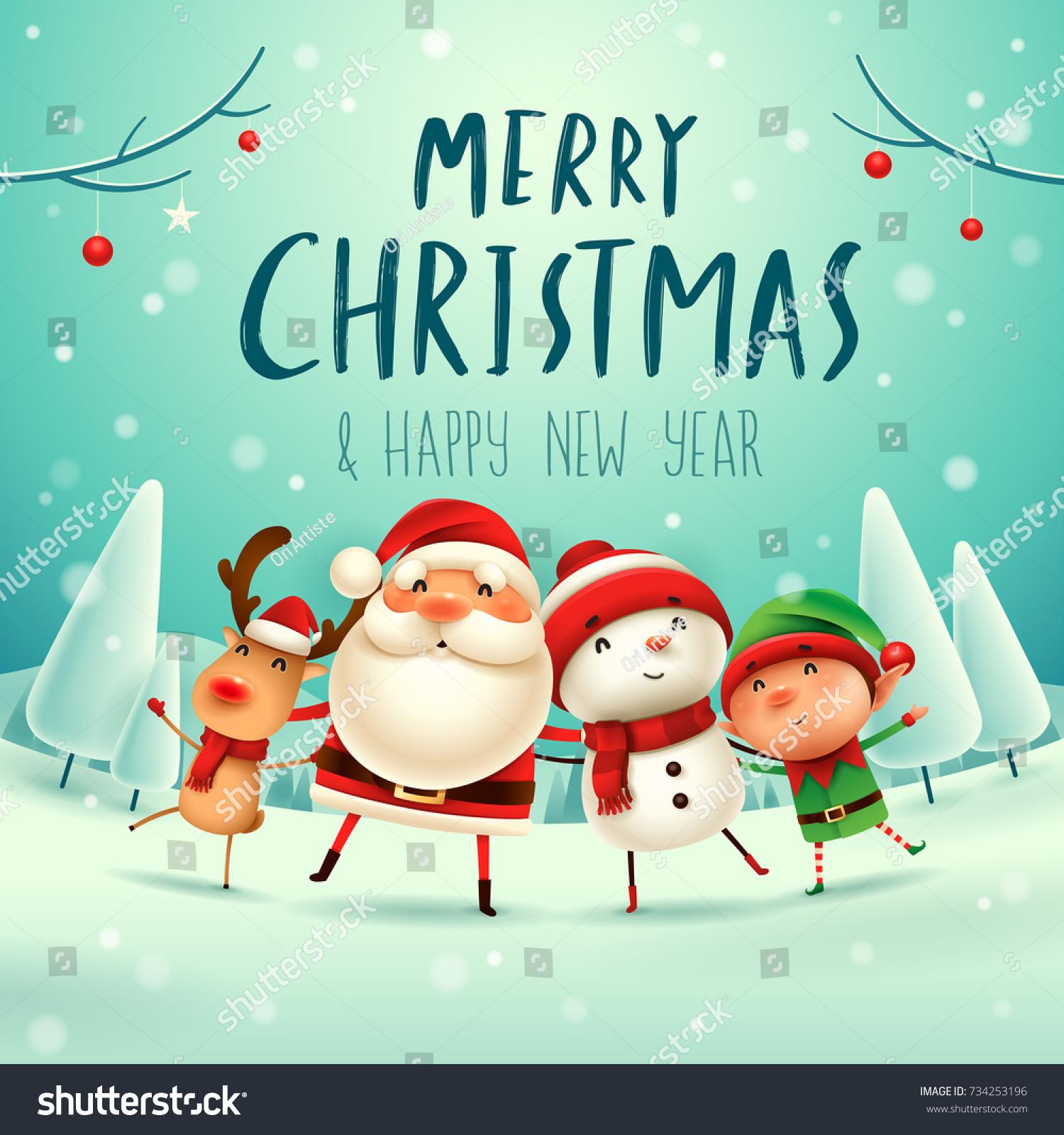 Merry Christmas Happy Christmas Companions Santa Stock Vector ...