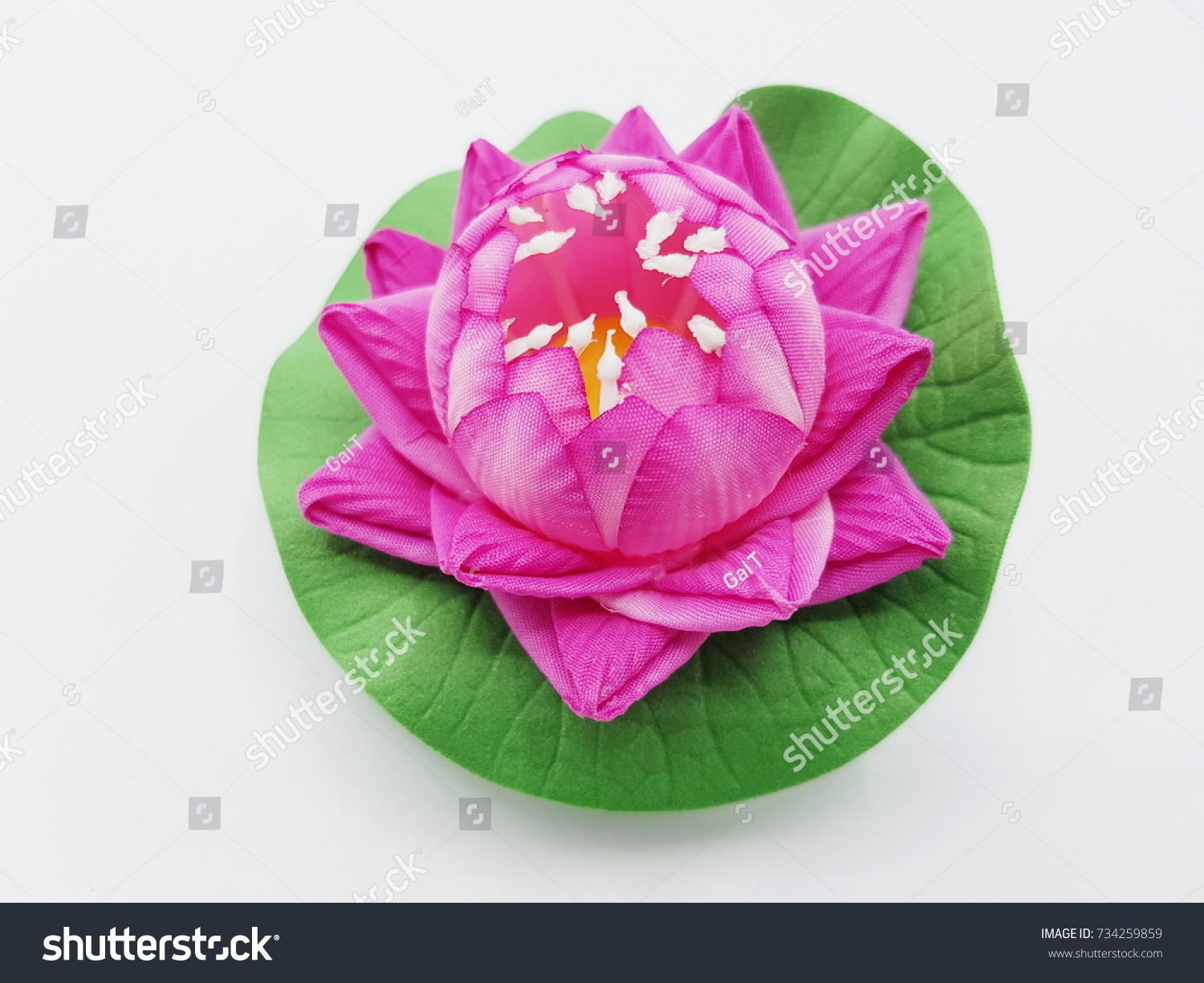 Artificial Lotus Flower On White Background Stock Photo Edit Now