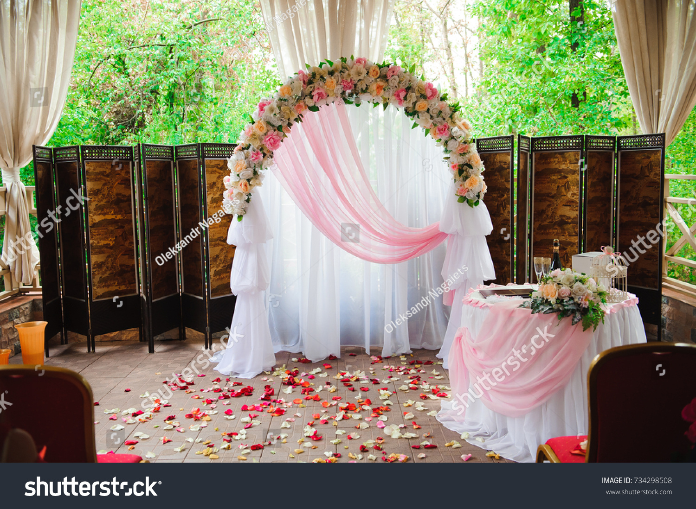 Wedding Ceremony Decoration Wedding Arch Stock Photo 734298508 ...