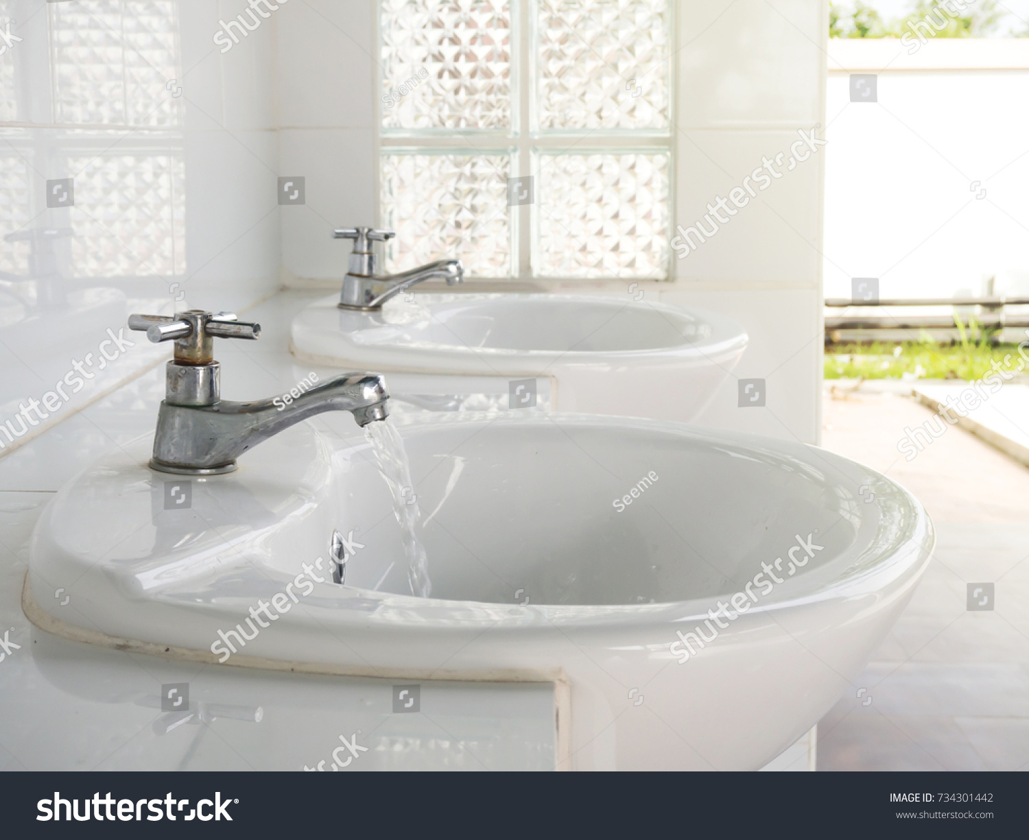Water Flows Faucet Public Bathroom Concept Stock Photo (Royalty Free ...