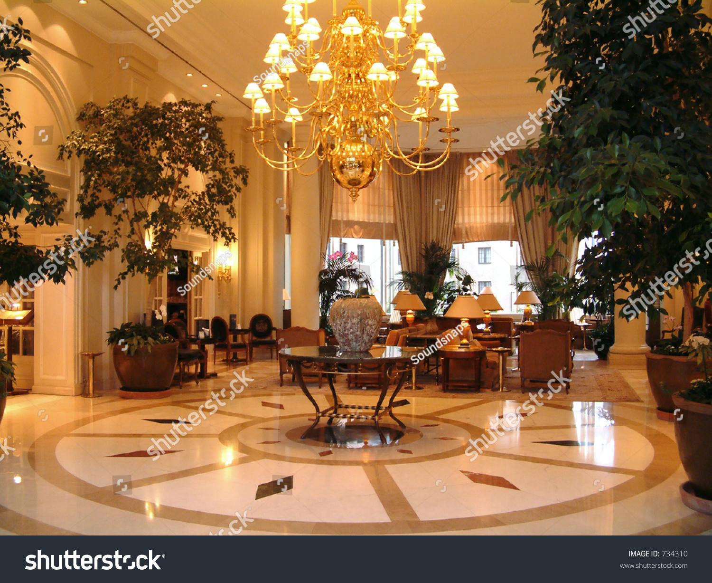 Luxury Hotel Lobby Reception Area Stock Photo 734310