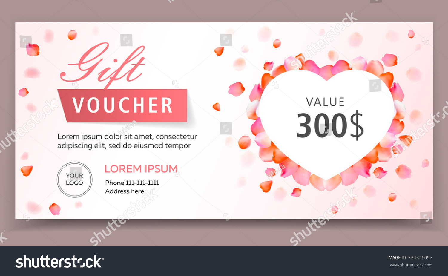 gift voucher certificate coupon template valentines stock vector