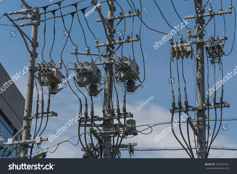 Three Electric Poles Japan Stock Photo (Edit Now) 734342332 ...