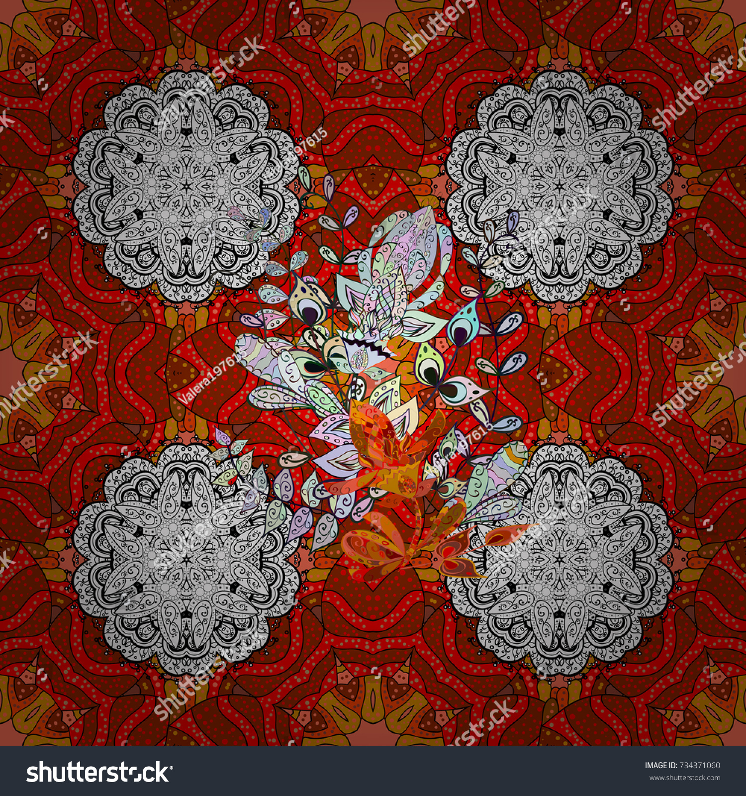 Elegant Seamless Pattern Brown Red White Stock Vector 734371060