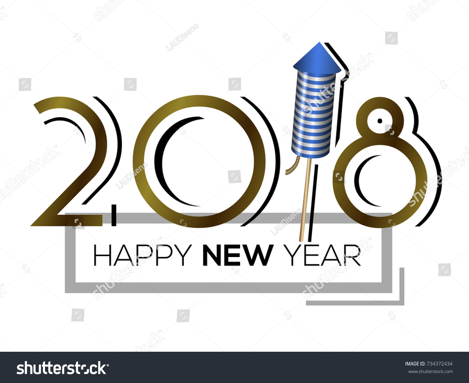 Happy New Year Poster Firework Rocket Stock Vector (Royalty Free ...