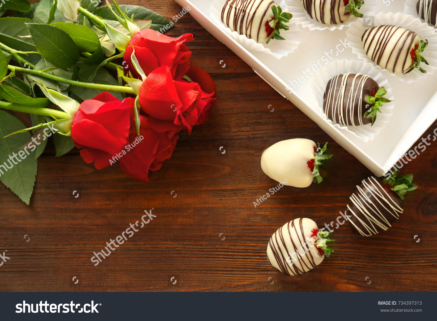 Box Tasty Chocolate Dipped Strawberries Bouquet Stock Photo Edit