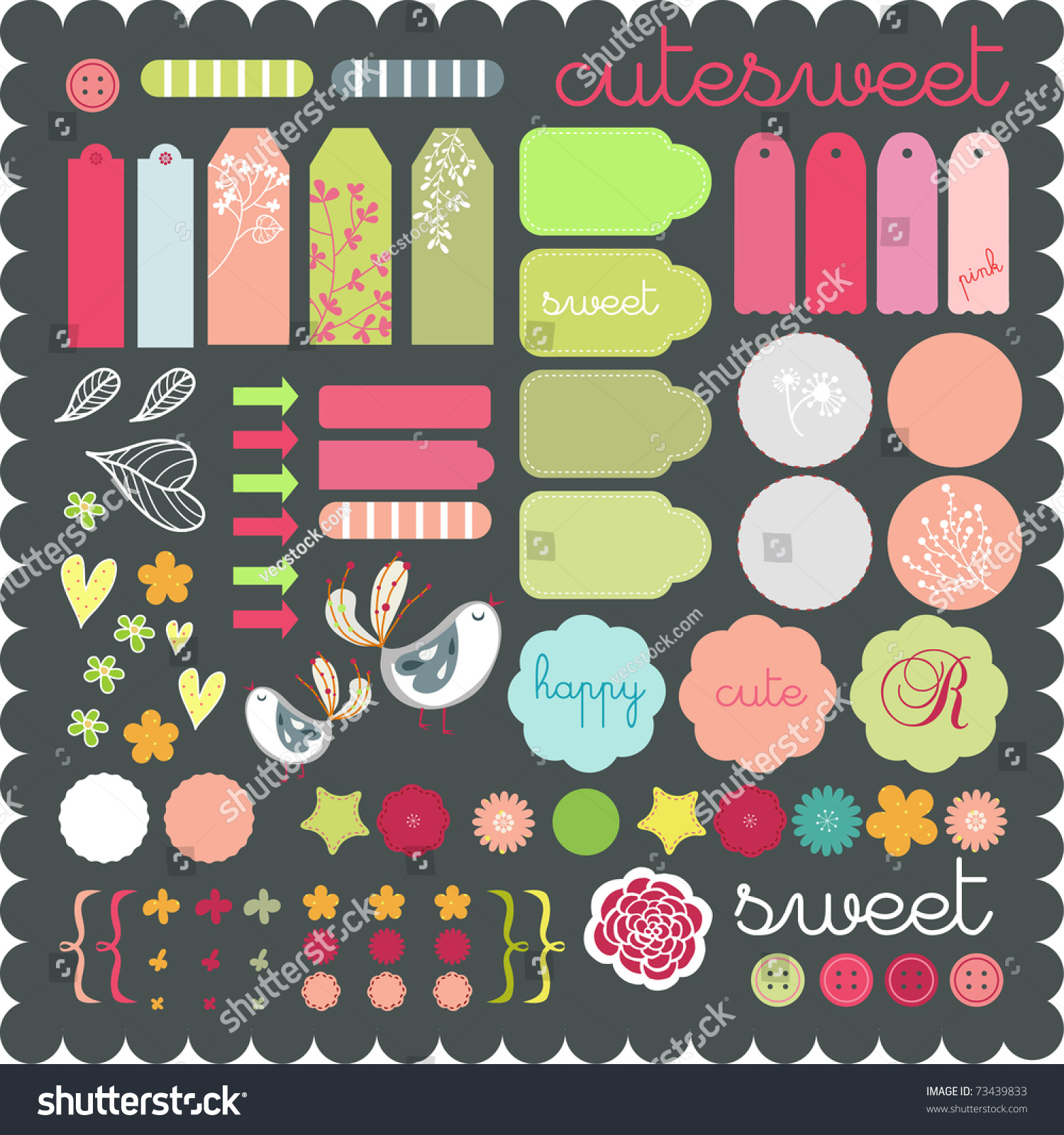 Scrapbook paper and stickers - Cute Scrapbook Graphic Elements Sticker Set Art To Download