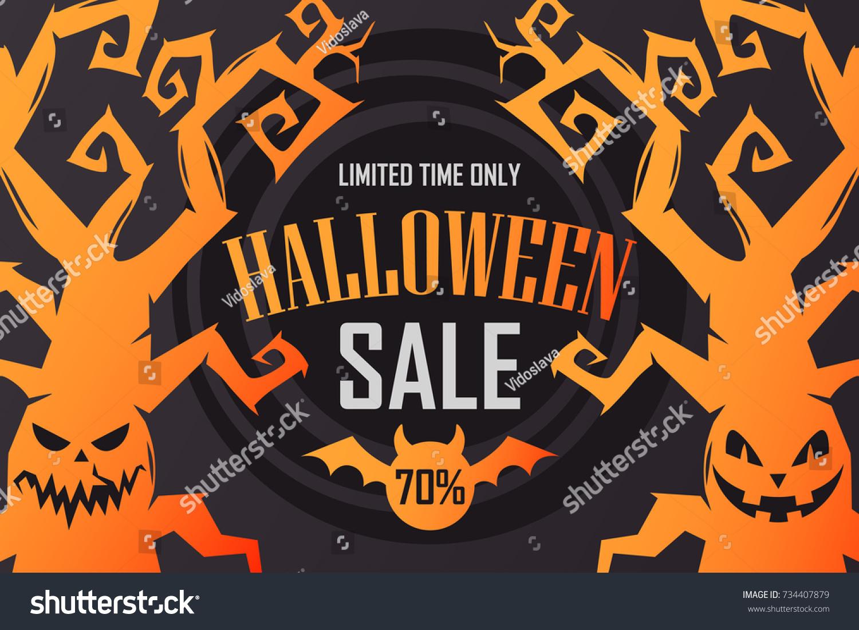 Banner Halloween Sales Stock Vector 734407879 - Shutterstock