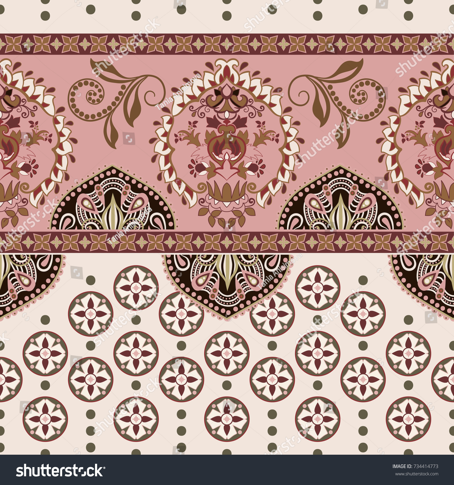 Vector seamless border with decorative ethnic elements. Moroccan style. Pink horizontal arabian pattern with decorative elements. Design for home decor, wrapping paper, fabric, carpet, cover #734414773